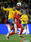 巴西VS朝鲜 罗比尼奥飞顶