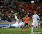 图文:荷兰2-1斯洛伐克 库卡倒勾射门