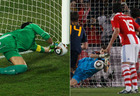 左:巴拉圭门将比拉尔扑出点球 右:西班牙门将卡西扑出点球