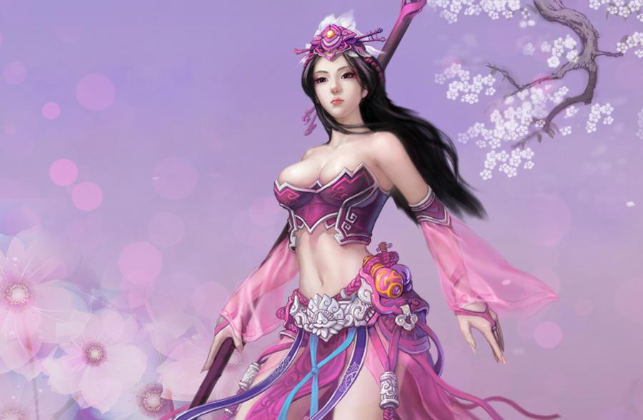 紫色古装美女手绘