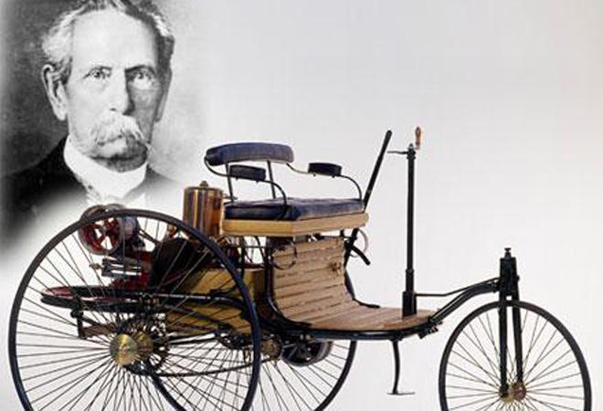 本茨和他所发明的内燃机驱动三轮汽车